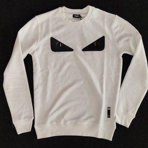 Fendi Black Monster Eye White Sweatshirt
